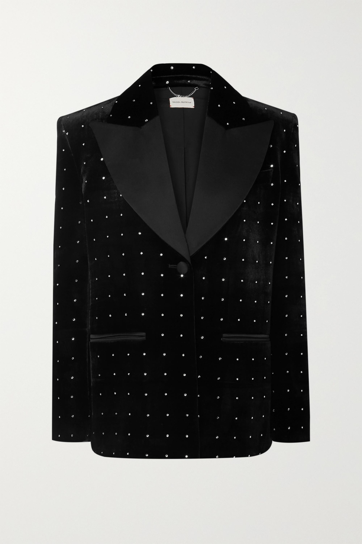 Magda Butrym Amsterdam silk-satin trimmed crystal-embellished velvet blazer