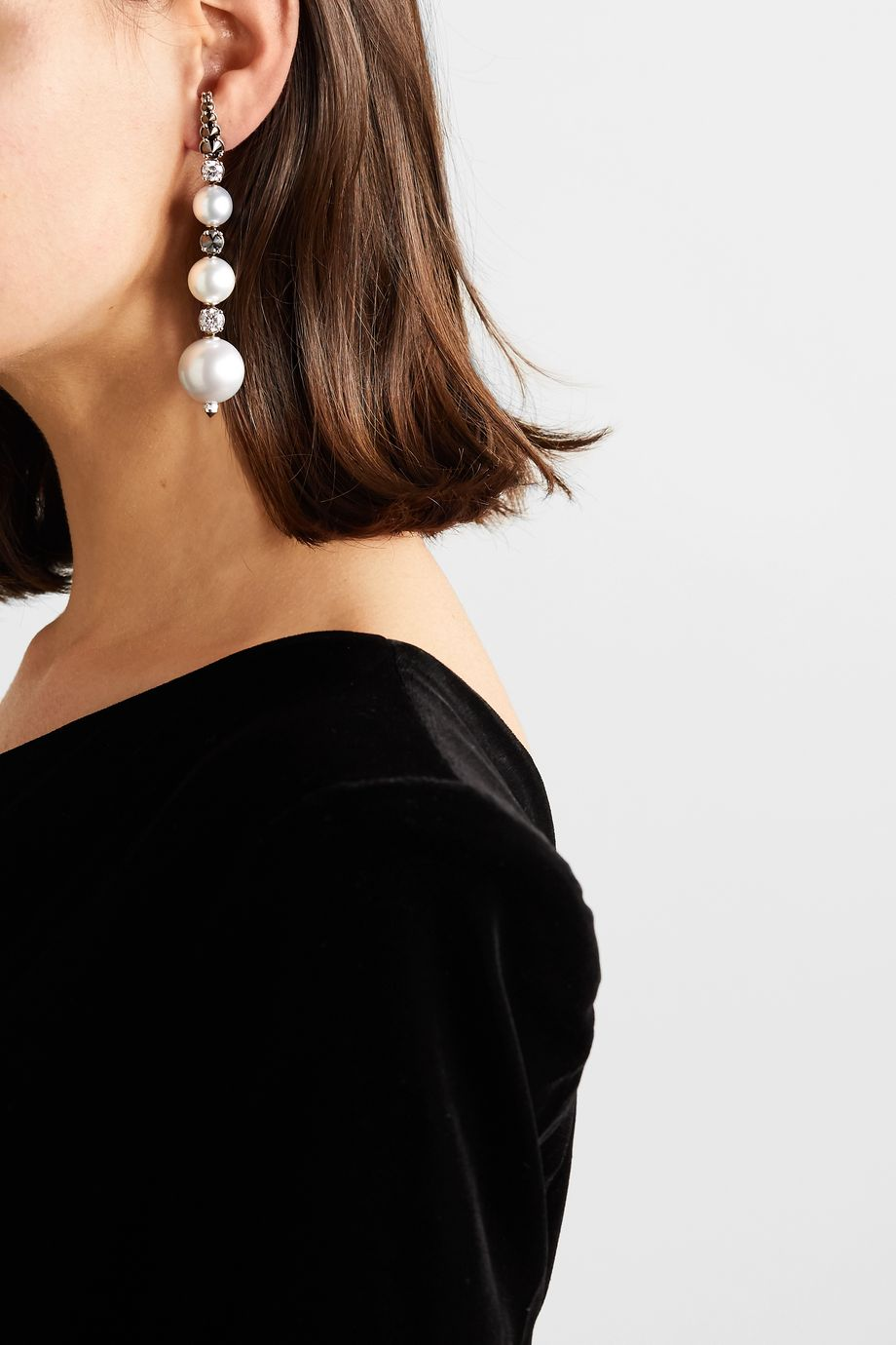 Ara Vartanian Ohrringe aus 18 Karat Weißgold mit Perlen und Diamanten