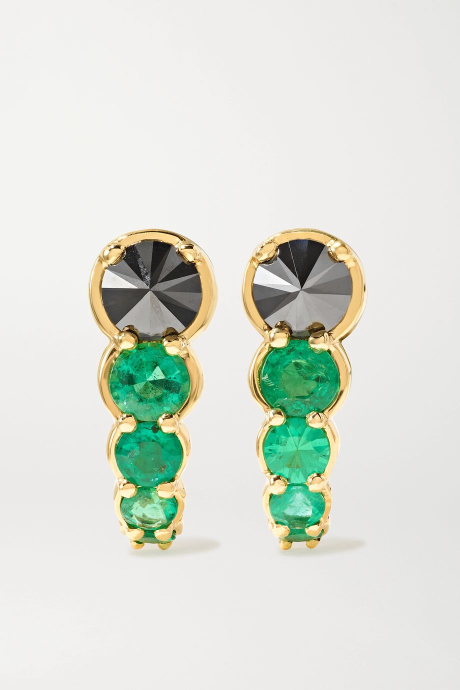 Ara Vartanian Hook 18-karat gold, diamond and emerald earrings