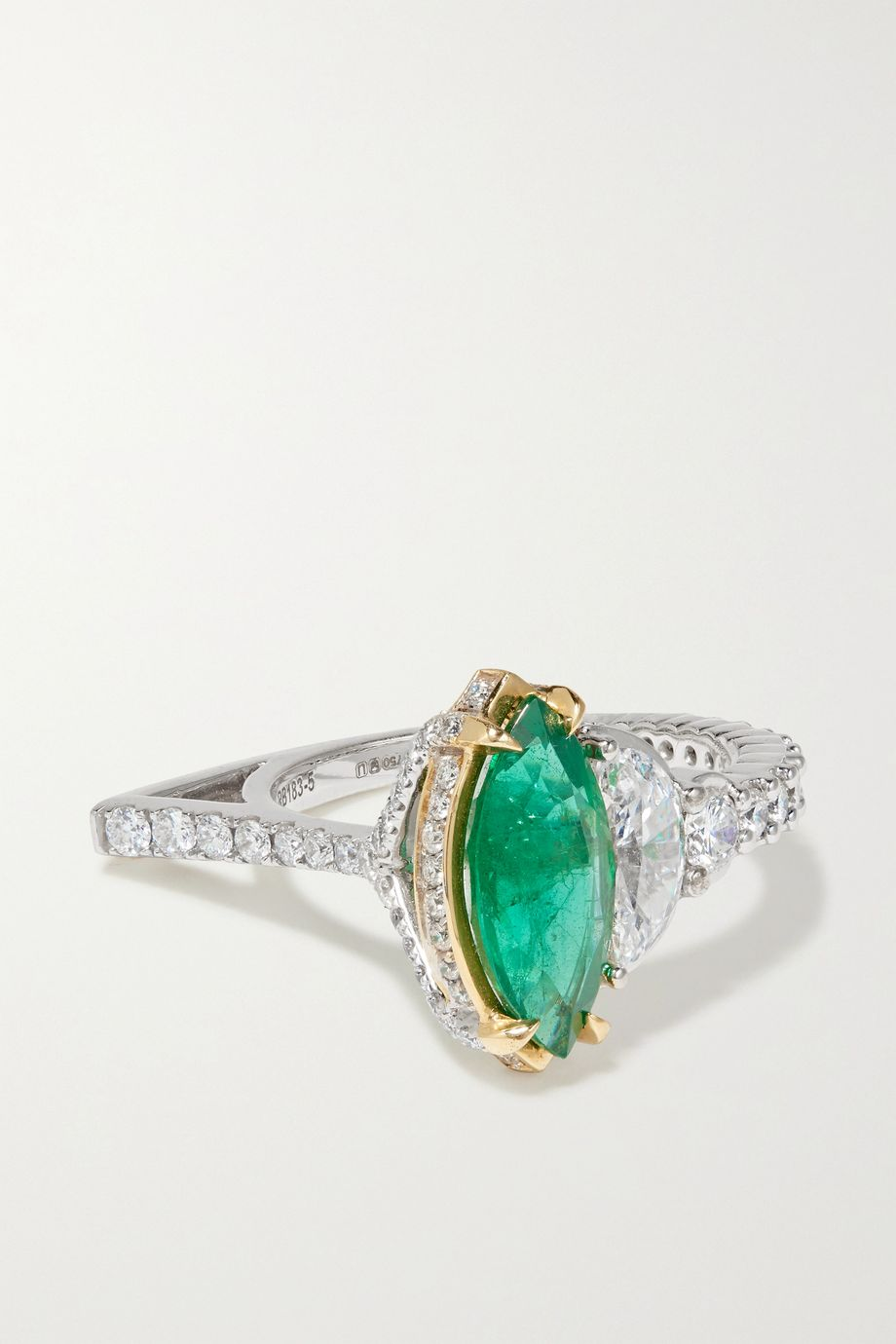 Ara Vartanian 18-karat white and yellow gold, emerald and diamond ring