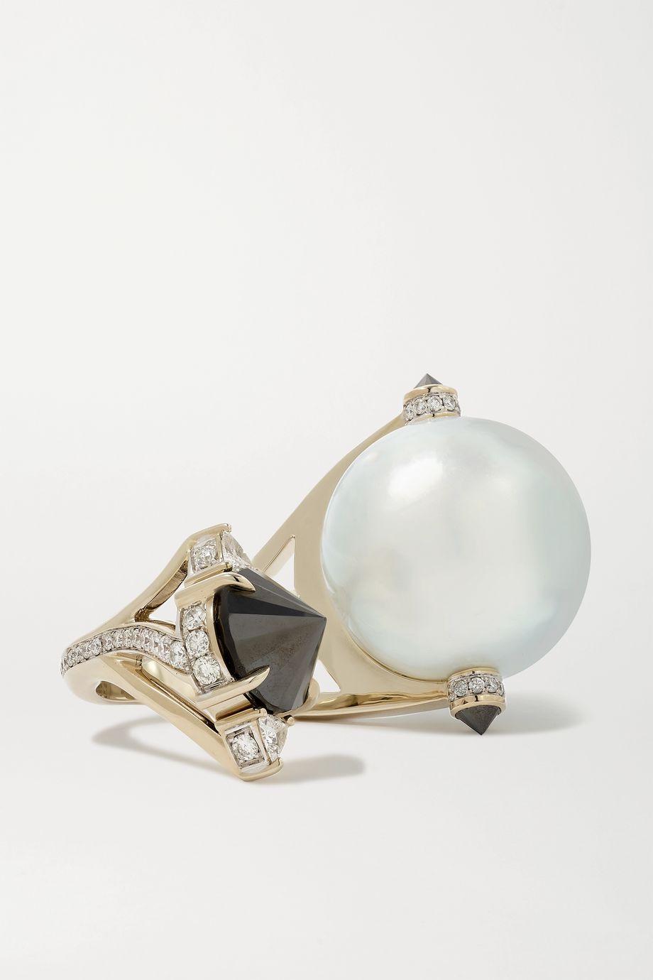 Ara Vartanian Ring aus 18 Karat Weißgold mit Perle und Diamanten