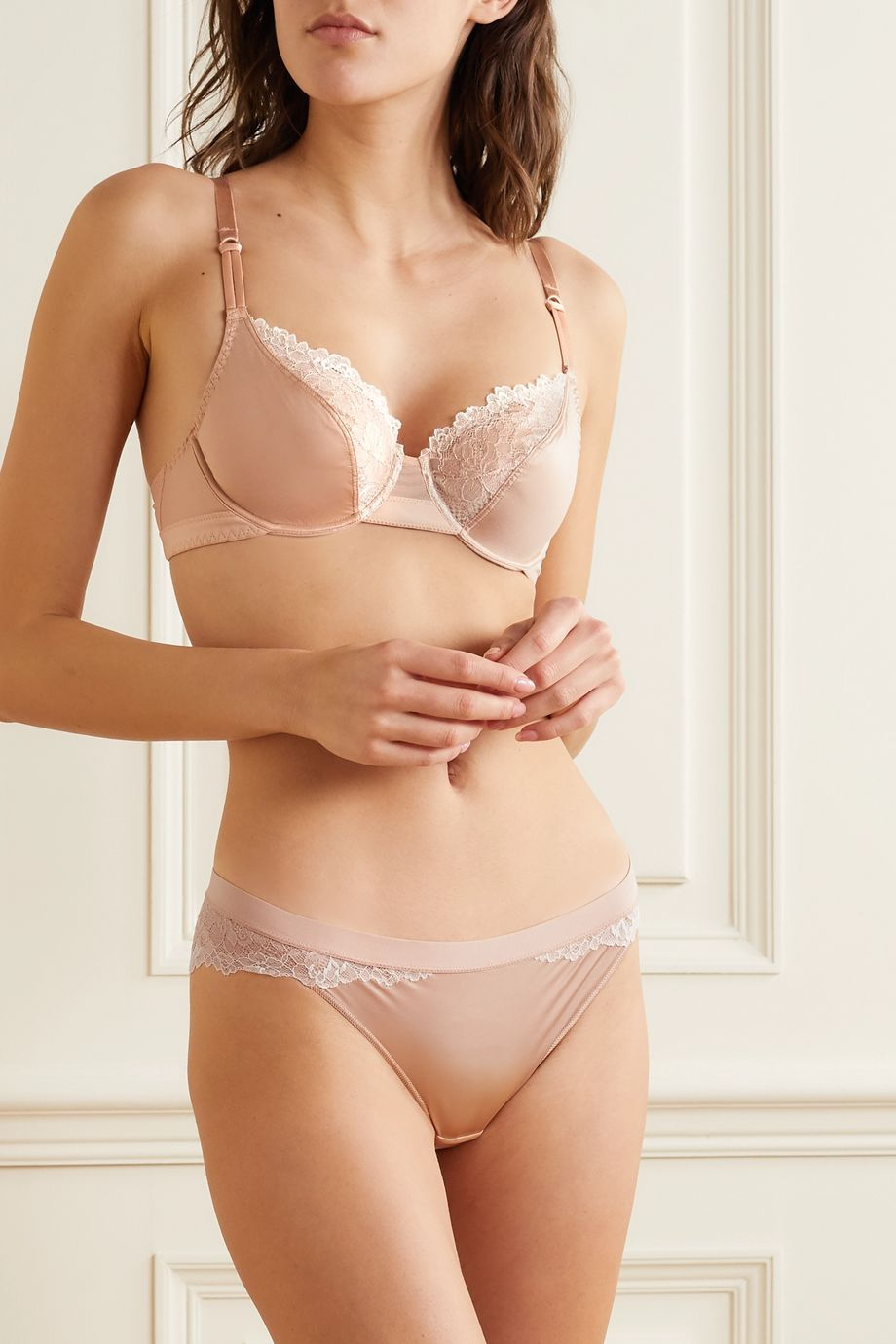 Maison Lejaby Satin-jersey, stretch-mesh and lace underwired soft-cup bra