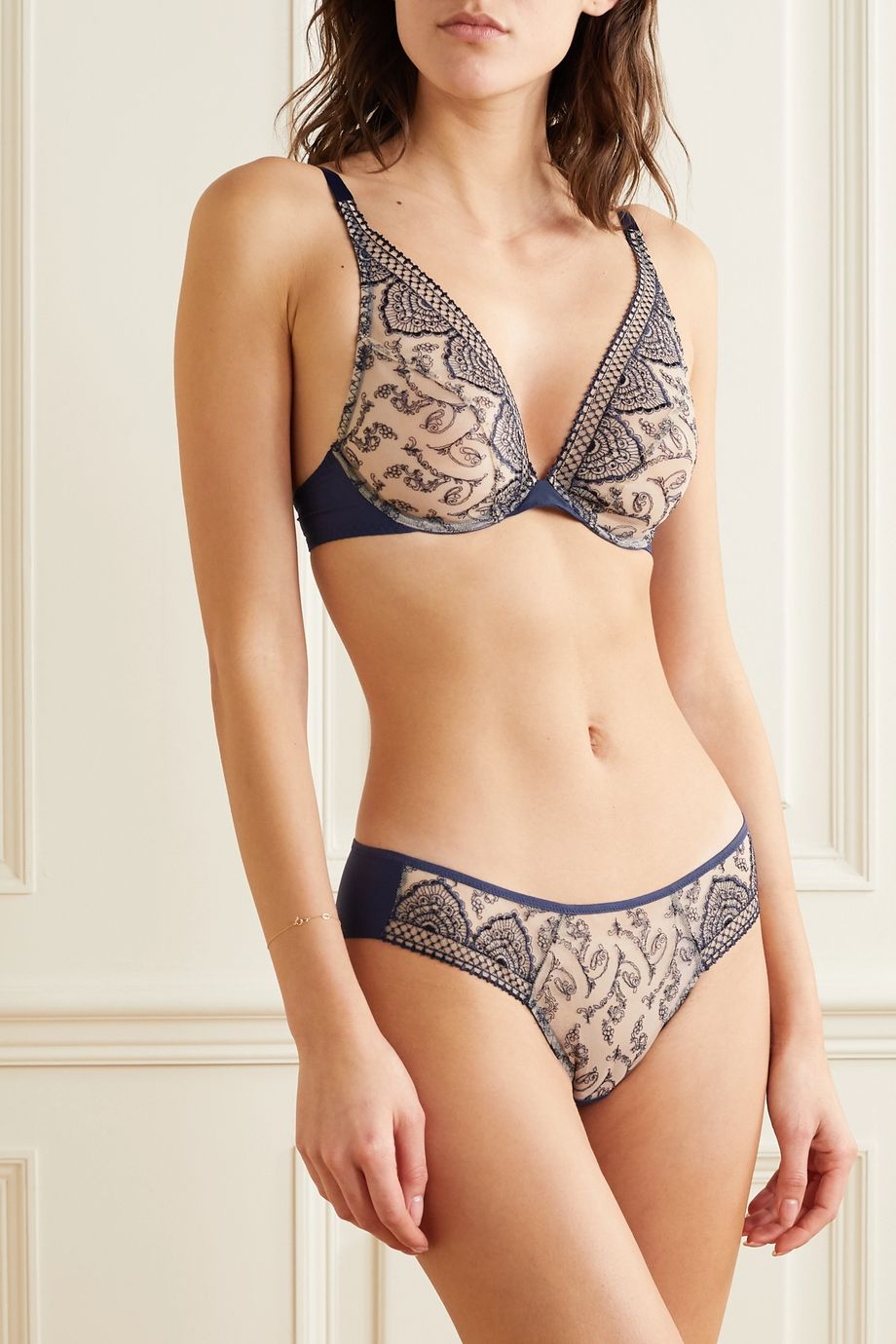 Maison Lejaby Henne embroidered tulle and stretch-jersey briefs