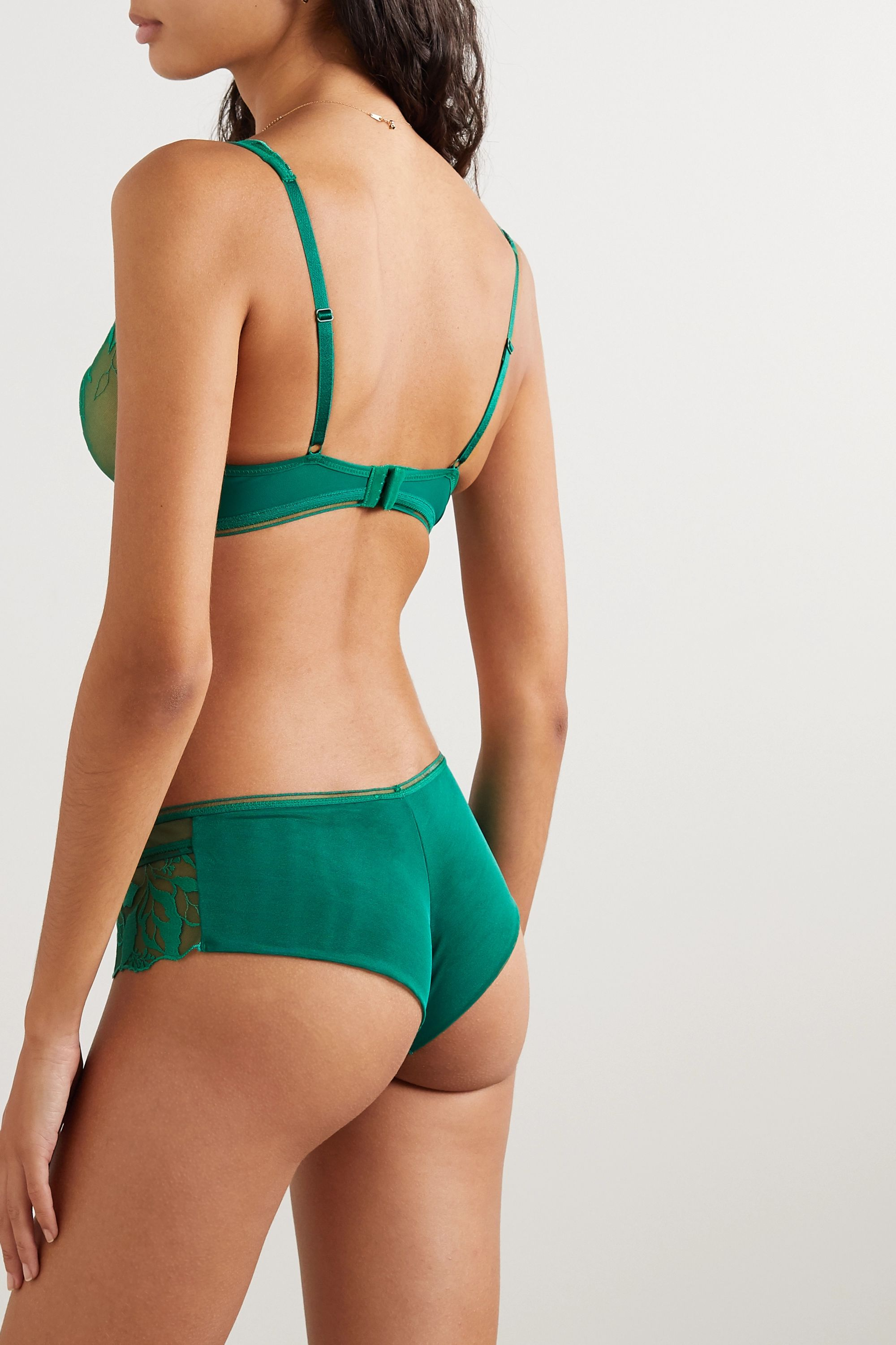 Maison Lejaby Sin embroidered stretch-tulle and jersey briefs