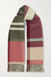 + NET SUSTAIN Tableau fringed checked wool and cashmere-blend scarf