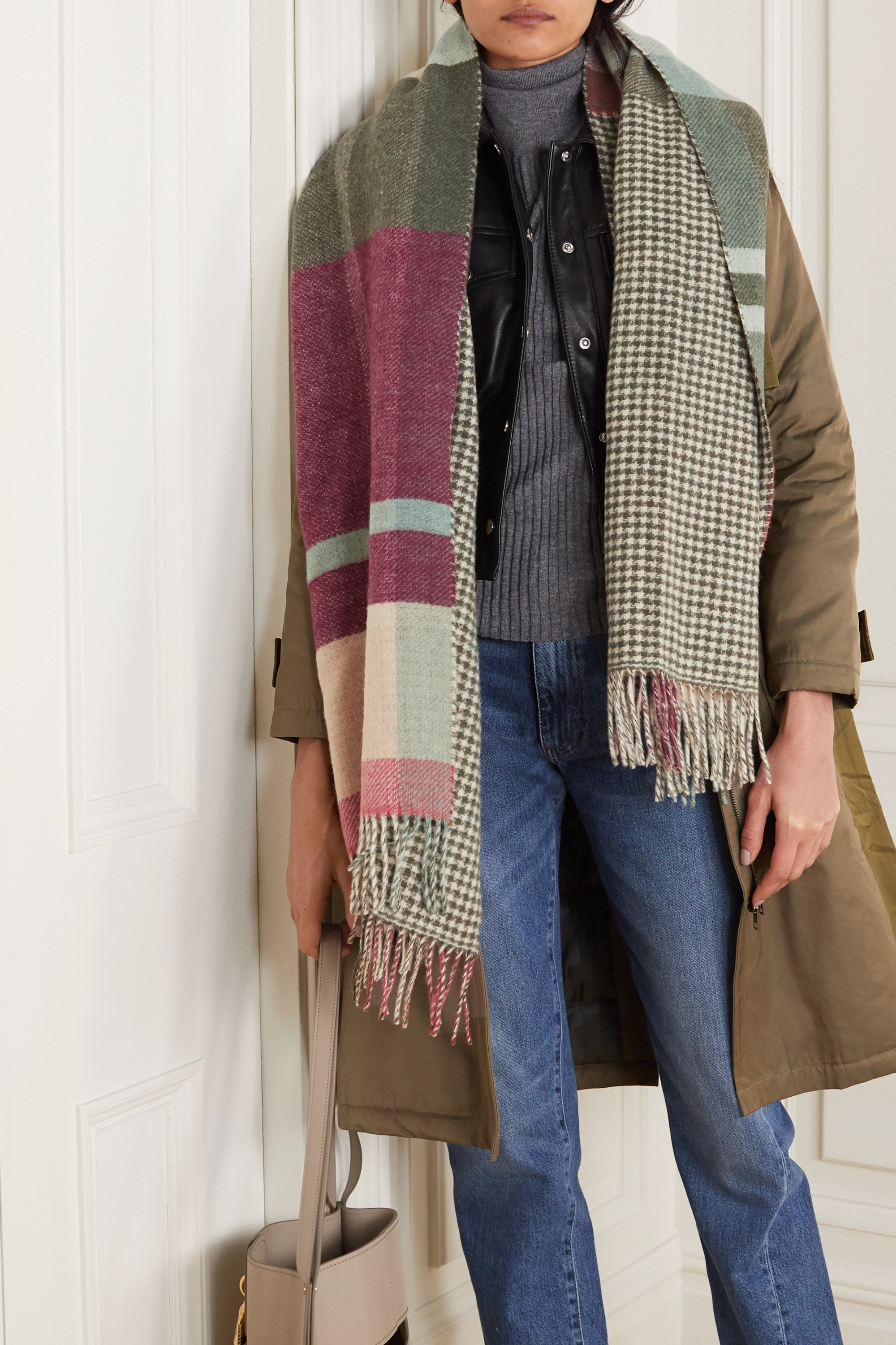 Holzweiler + NET SUSTAIN Tableau fringed checked wool and cashmere-blend scarf