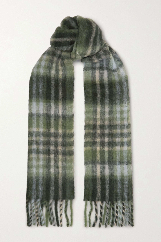 Holzweiler + NET SUSTAIN Aster fringed checked alpaca-blend scarf