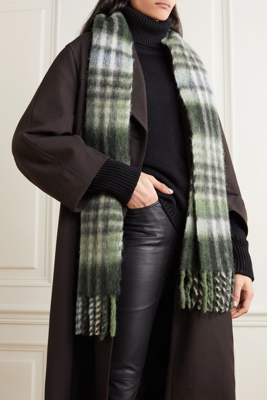 Holzweiler + NET SUSTAIN Aster fringed checked alpaca-blend scarf