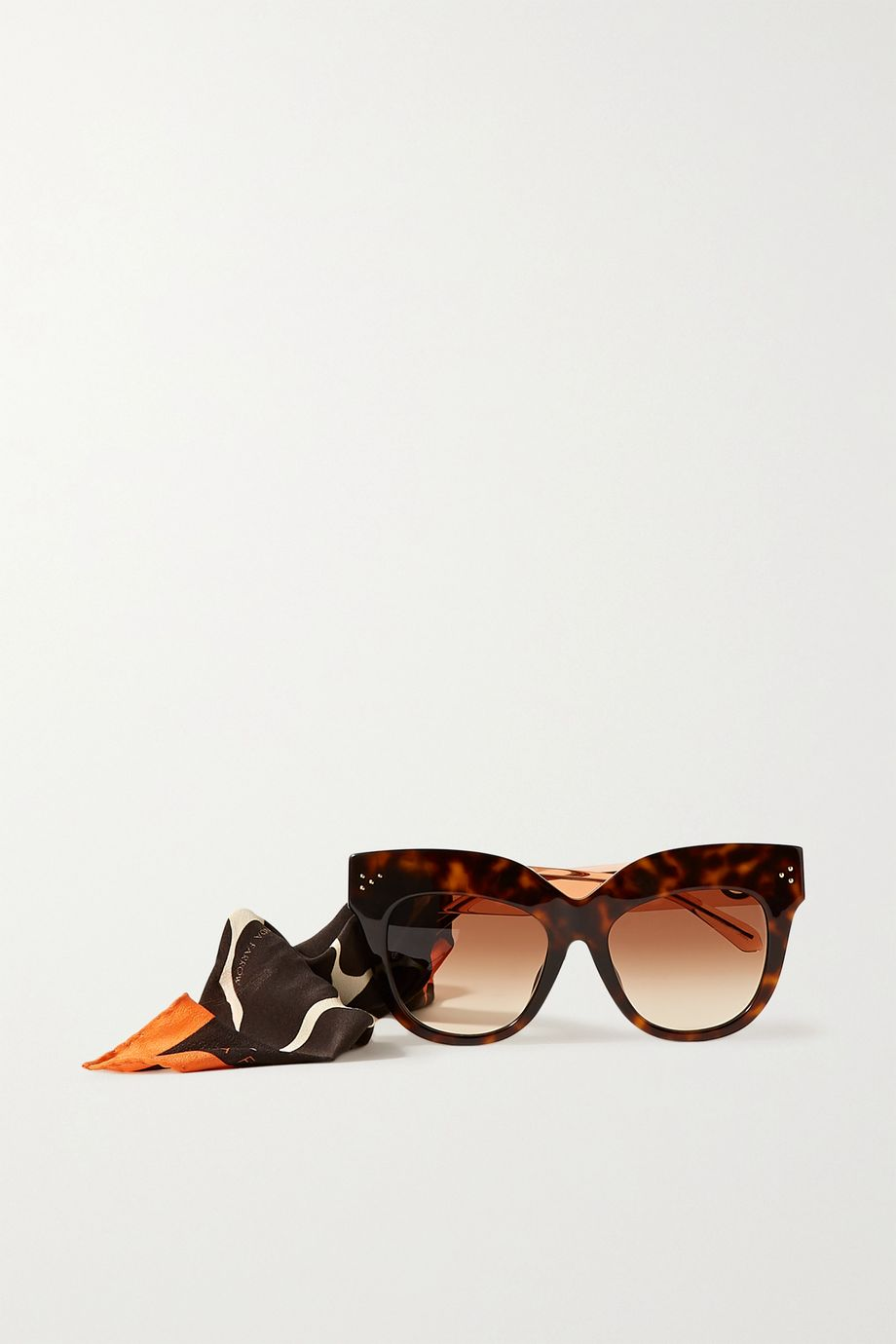 Linda Farrow Dunaway oversized round-frame acetate sunglasses with detachable scarf