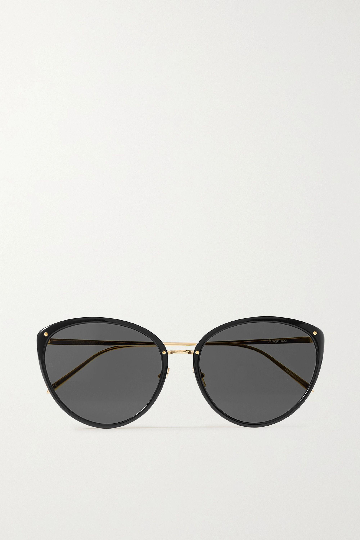 Linda Farrow Cat-eye acetate and gold-tone sunglasses