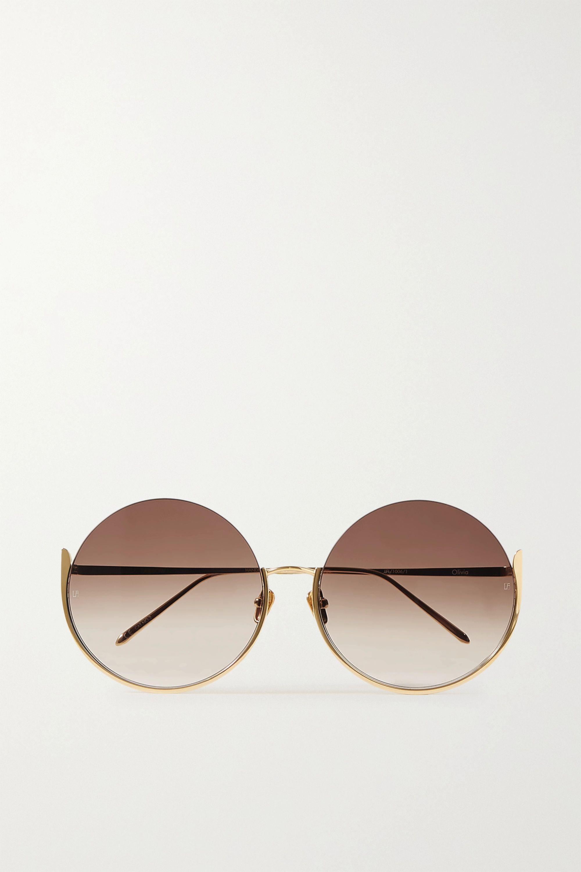 Linda Farrow Oversized round-frame gold-tone sunglasses