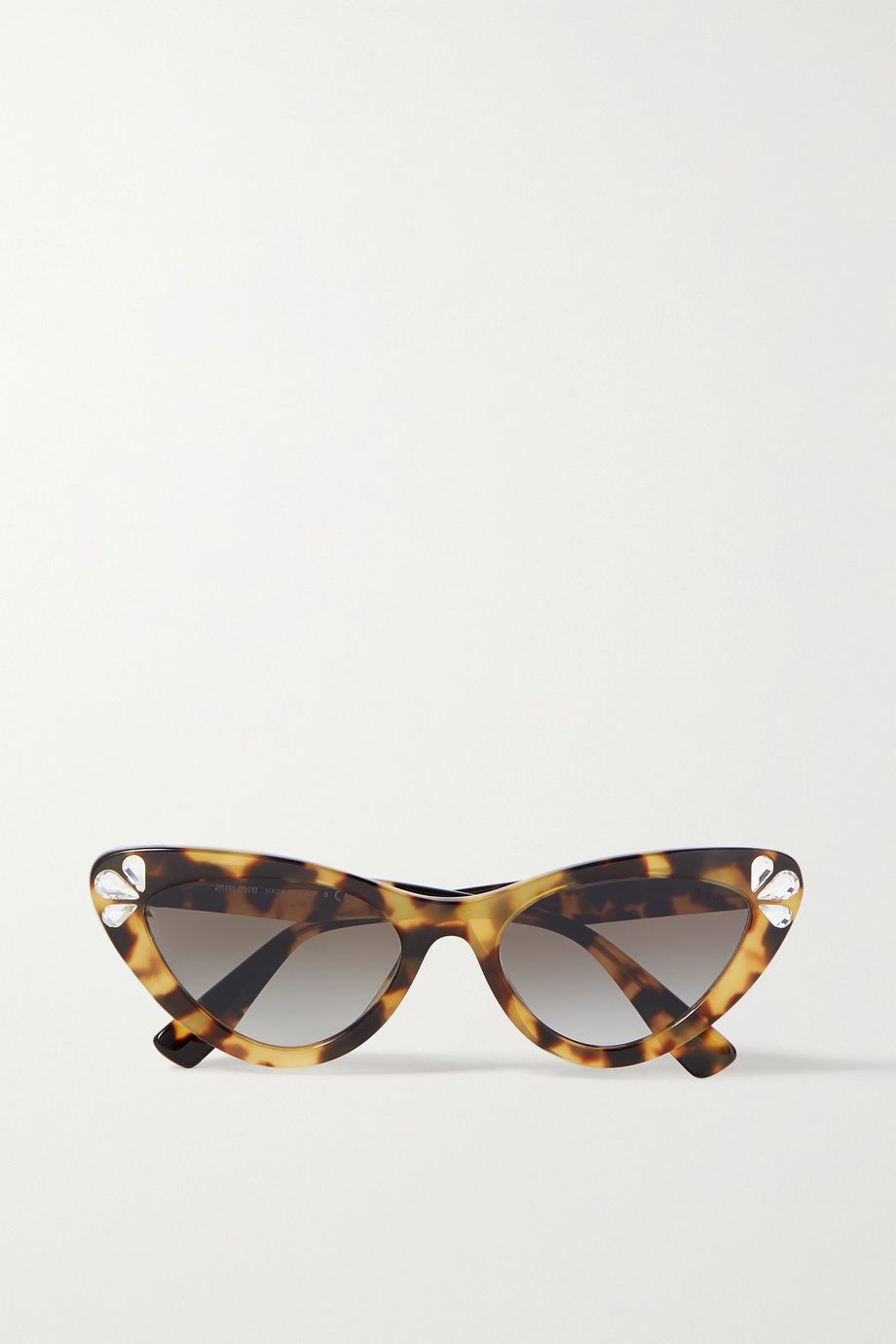 Miu Miu Eyewear Cat-eye crystal-embellished tortoiseshell acetate sunglasses