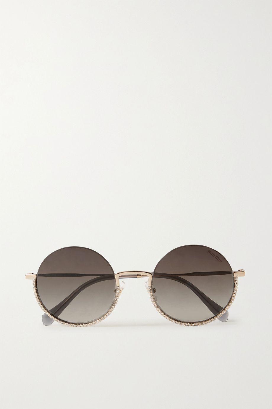Miu Miu Eyewear Crystal-embellished round-frame gold-tone sunglasses