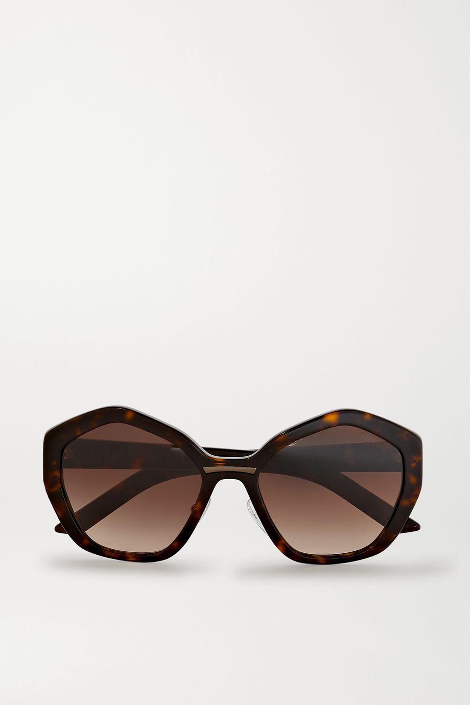 Prada Eyewear Sonnenbrille mit sechseckigem Rahmen aus Azetat in Hornoptik