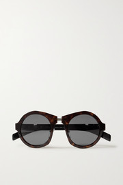 Round-frame tortoiseshell acetate and silver-tone sunglasses