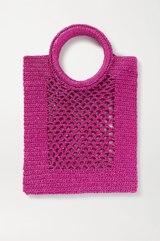 Mizele Sunbath mini crochet-knit Lurex tote