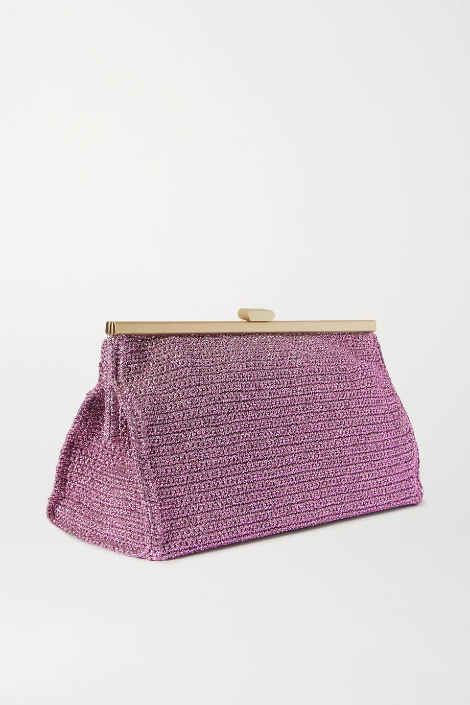 Mizele Bourse crochet-knit Lurex clutch