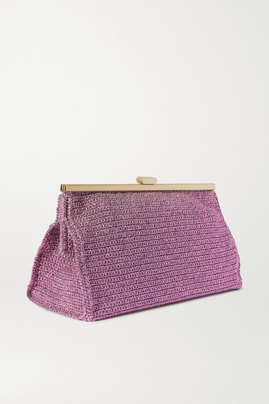 Mizele Bourse Crochet-knit Lurex Clutch In Lilac
