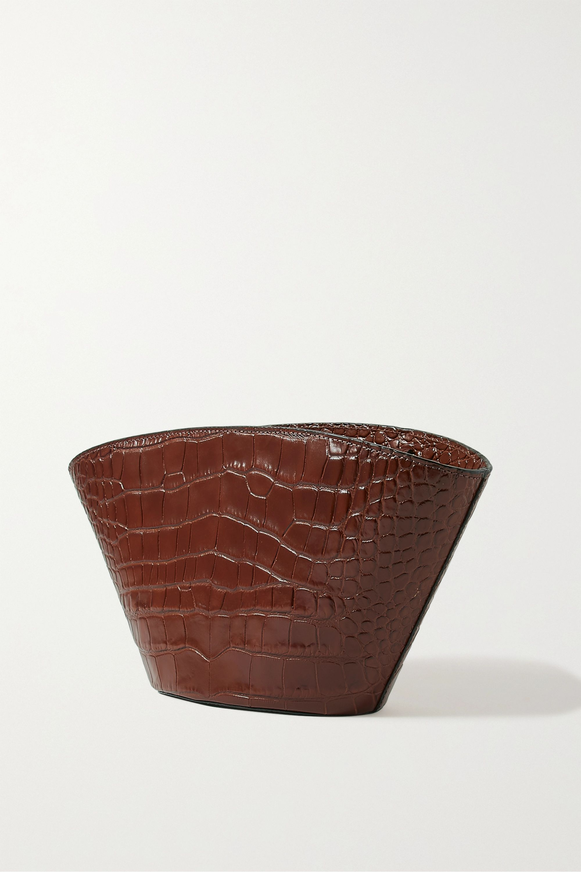 Chylak Basket kleine Schultertasche aus Glanzleder mit Krokodileffekt