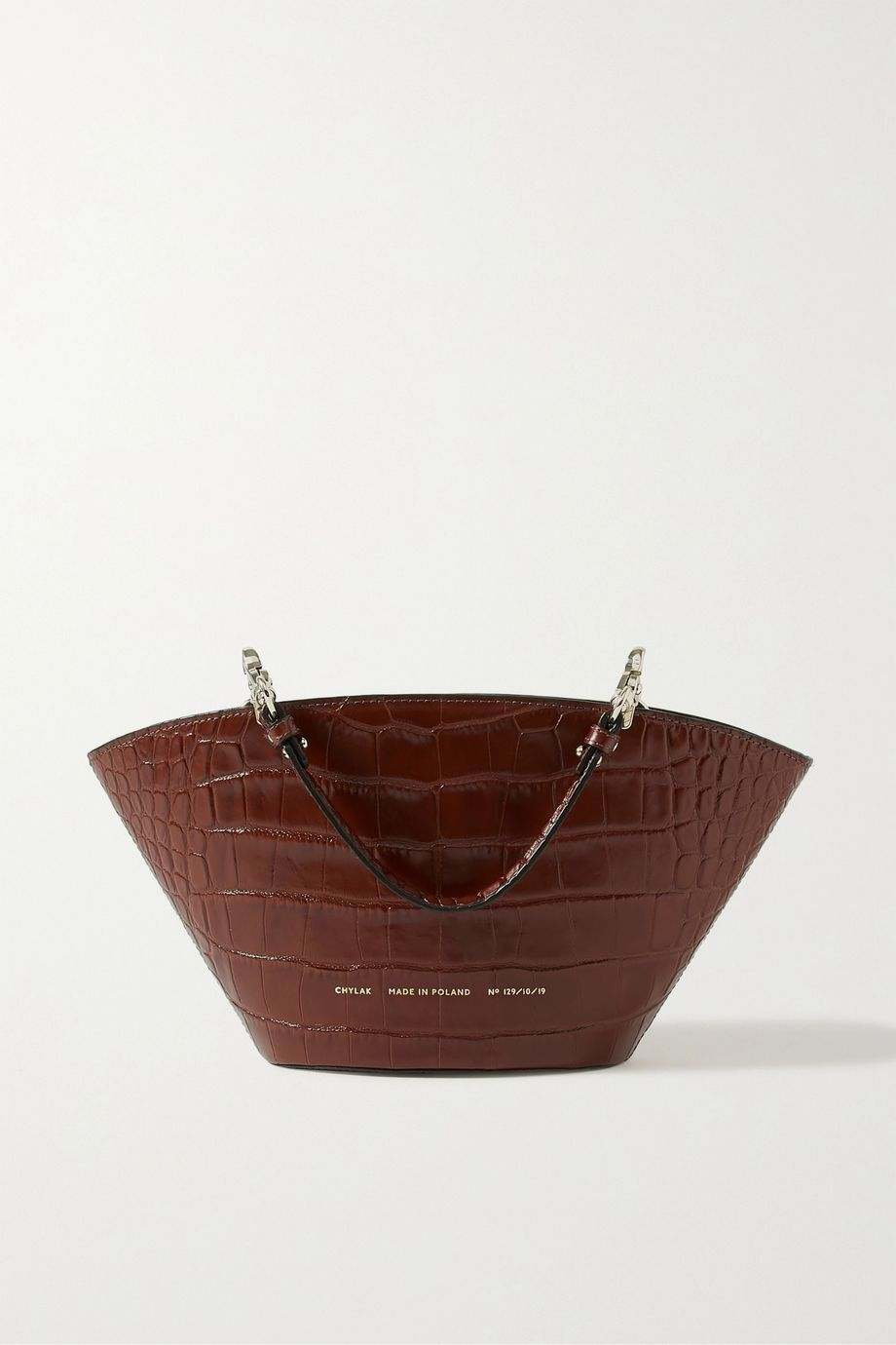 Chylak Basket small glossed croc-effect leather shoulder bag