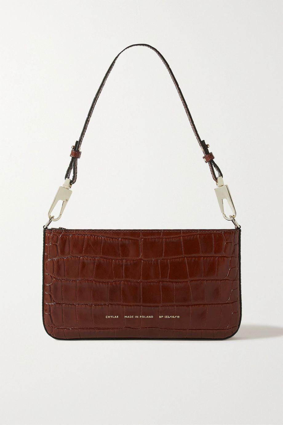 Chylak Underarm glossed croc-effect leather shoulder bag