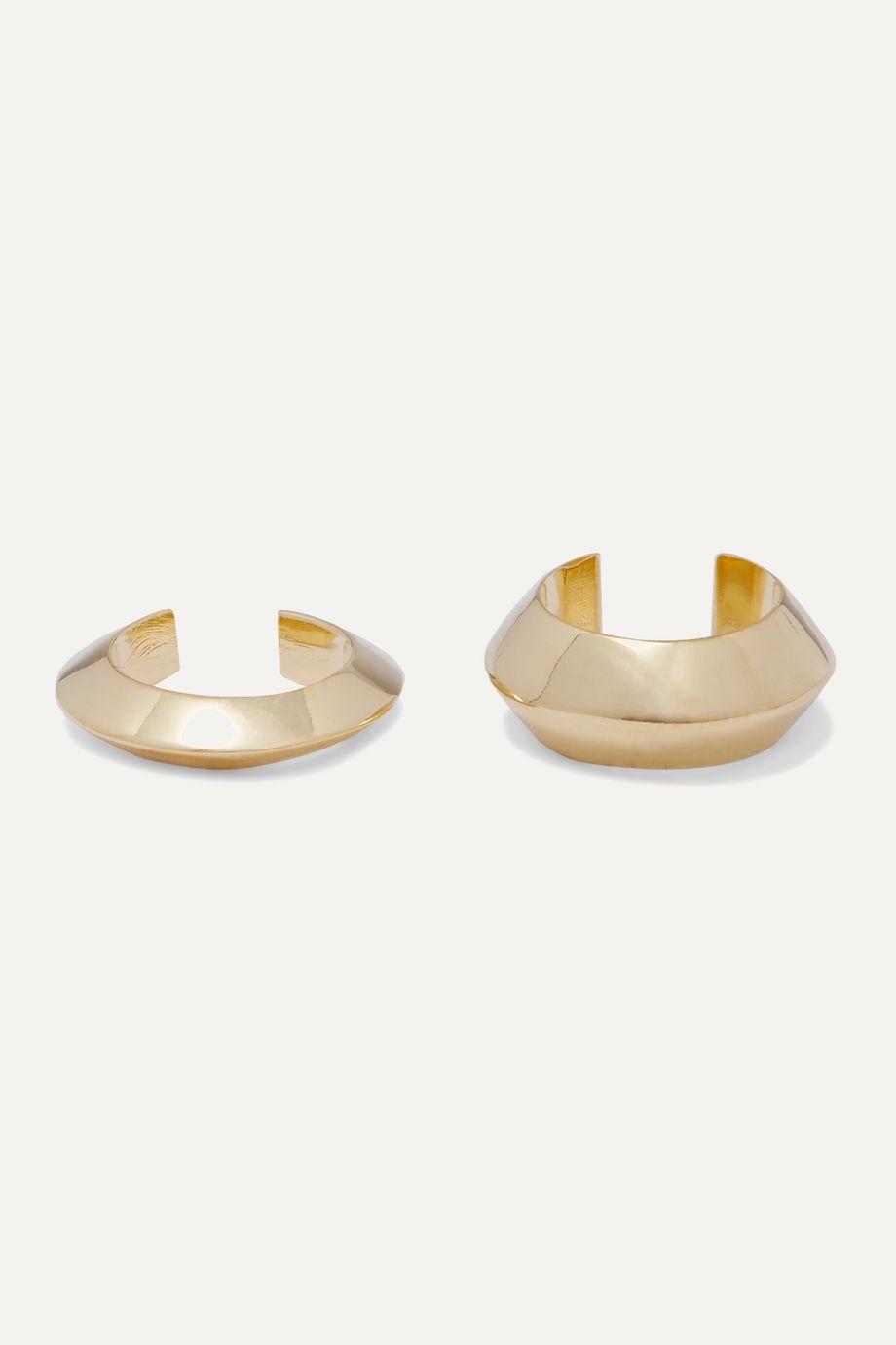 Saskia Diez Pyramid set of two gold-plated ear cuffs