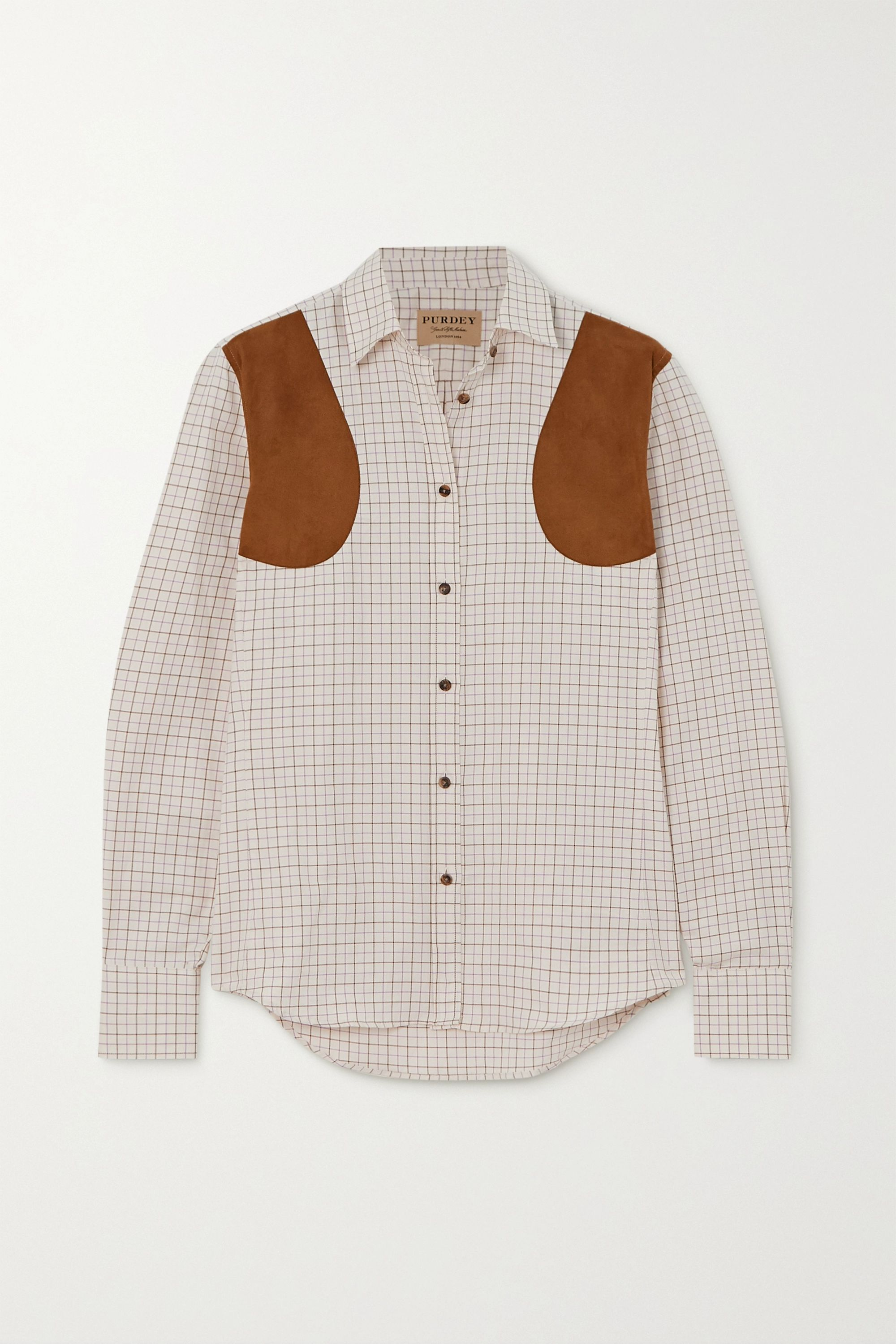 Purdey Faux suede-paneled checked cotton-twill shirt