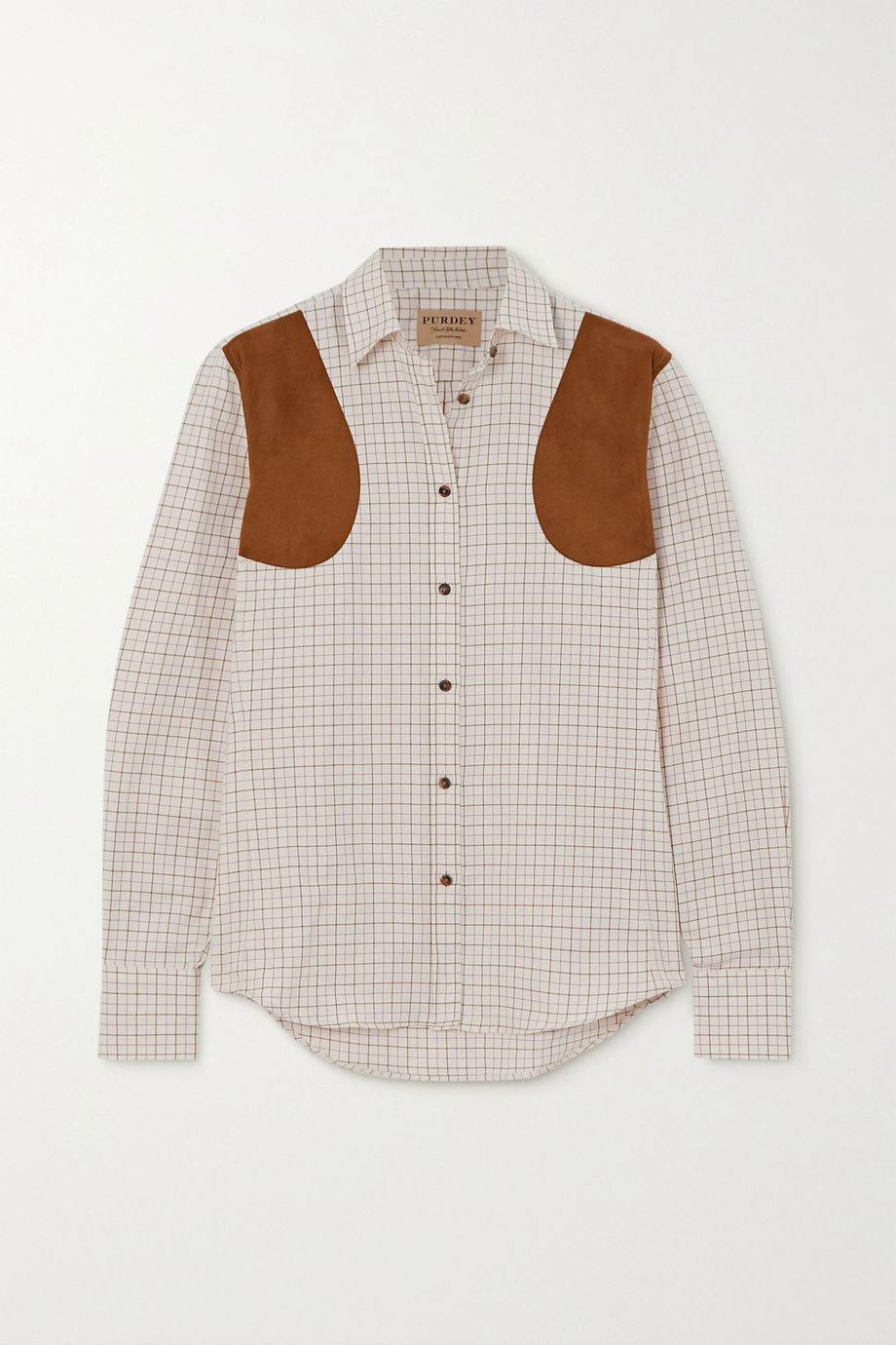 Purdey Faux suede-trimmed checked cotton-twill shirt