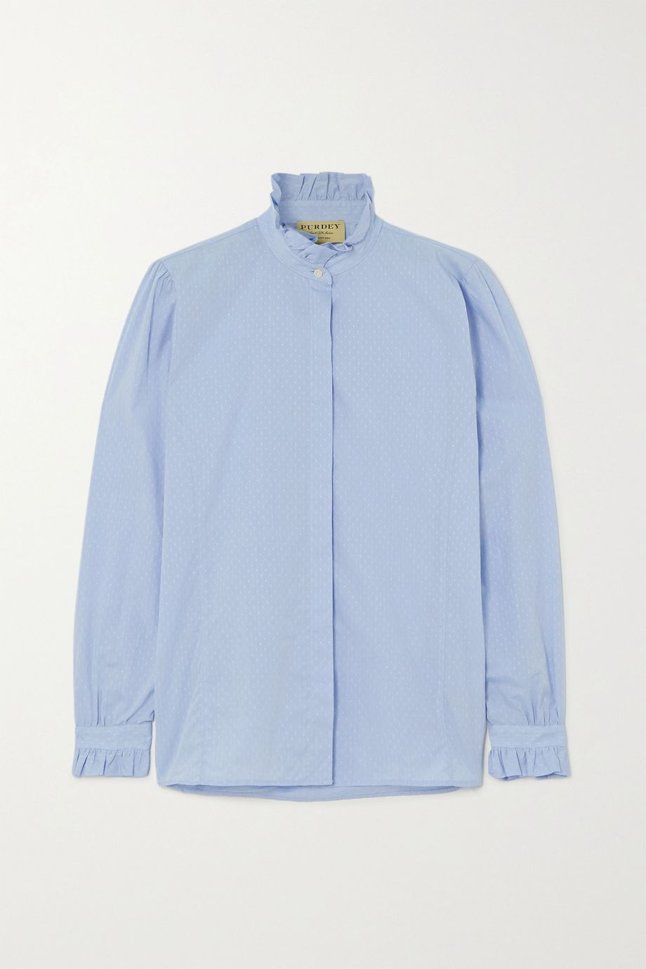 Purdey Pie Crust ruffled embroidered cotton-chambray shirt