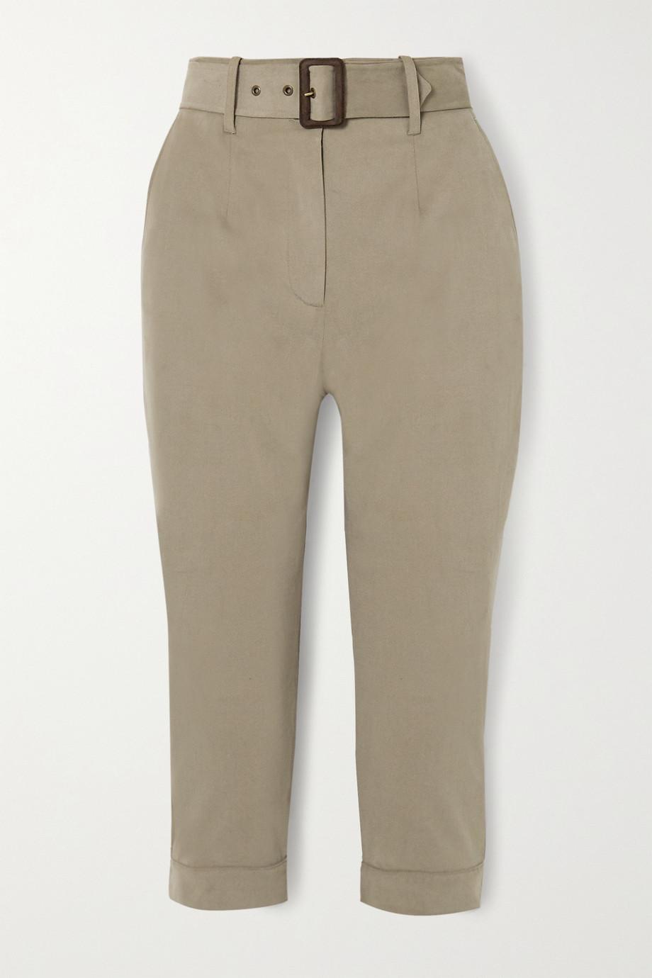 Purdey Pantalon fuselé raccourci en coton mélangé brossé à ceinture