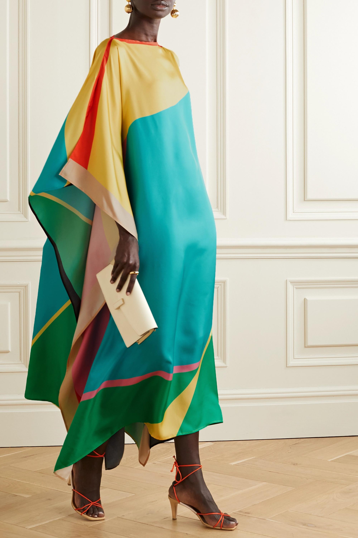 Louisa Parris Winifred printed silk-twill maxi dress