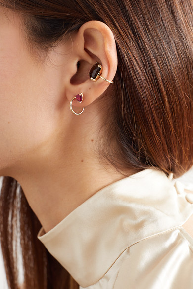 lara-9-karat-gold-garnet-hoop-earrings by natasha-schweitzer