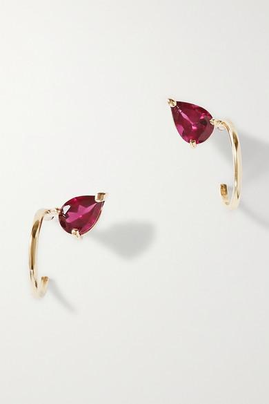 Natasha Schweitzer Lara 9-karat Gold Garnet Hoop Earrings