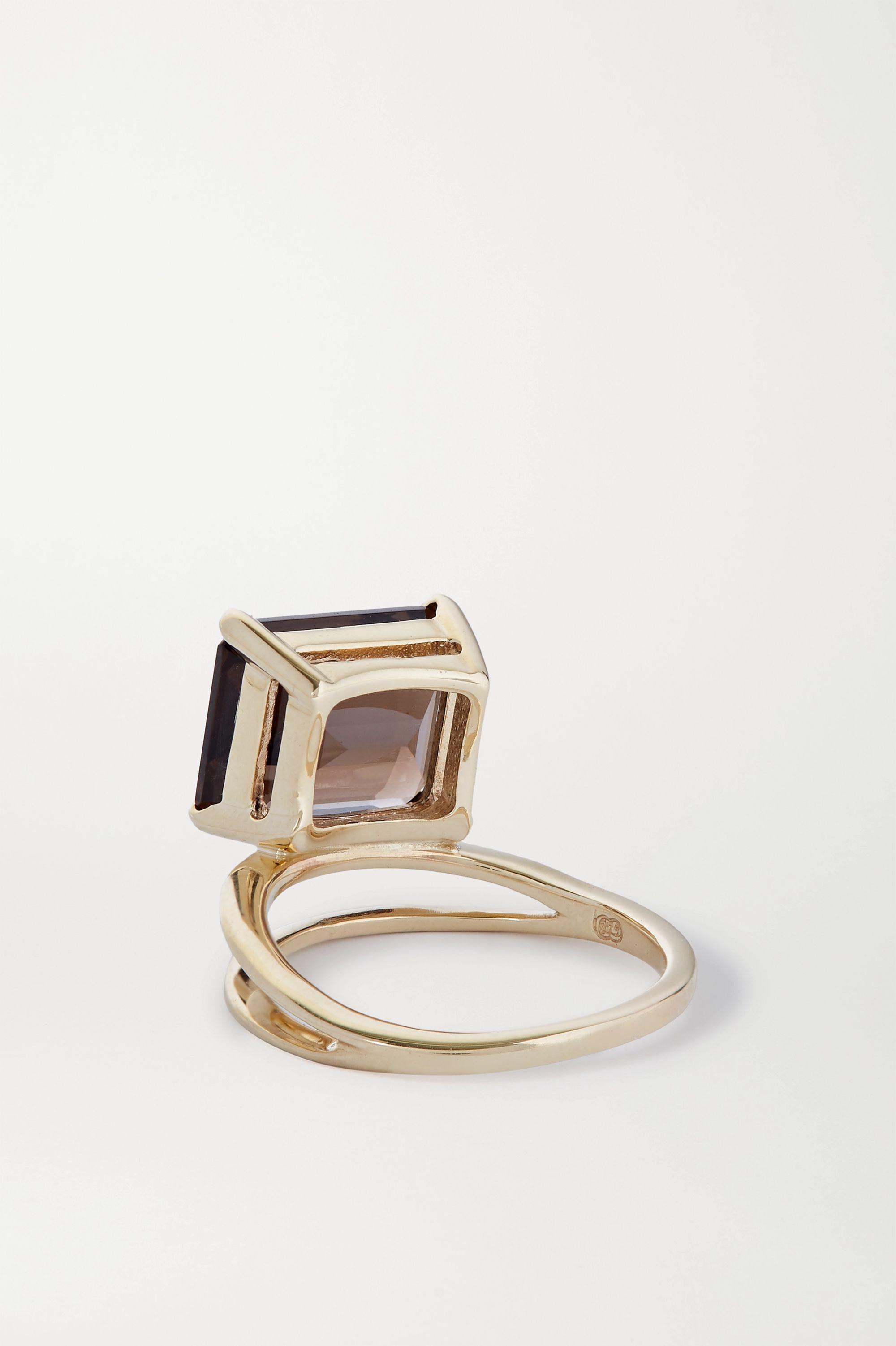 Natasha Schweitzer Double Band 9-karat gold quartz ring