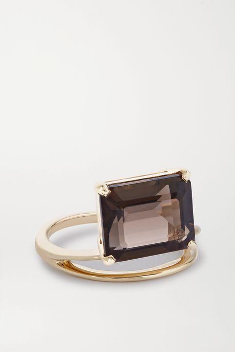 Gold Double Band 9-karat gold quartz ring | Natasha Schweitzer v0kP3u