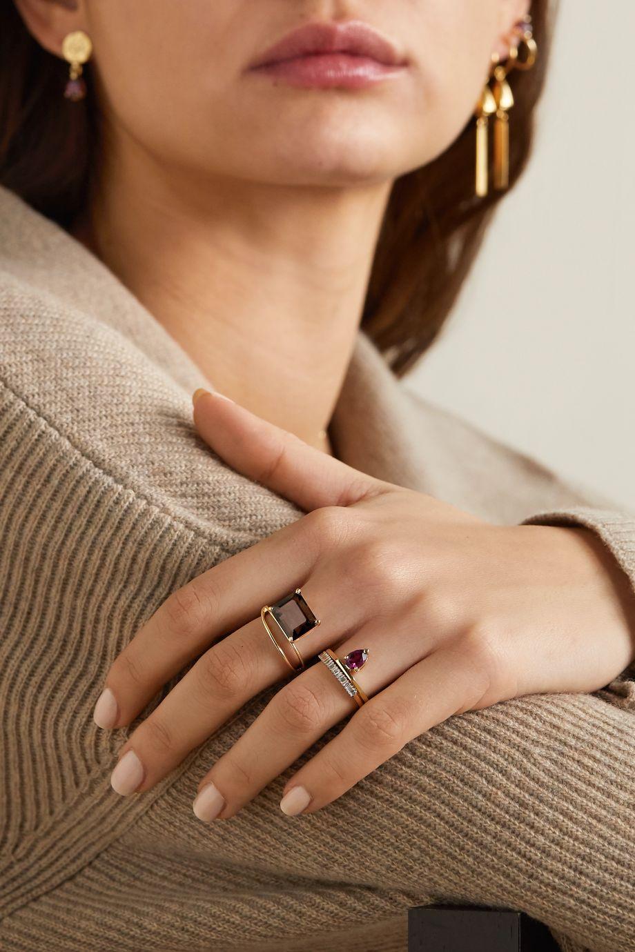 Natasha Schweitzer Double Band Ring aus 9 Karat Gold mit Quarz