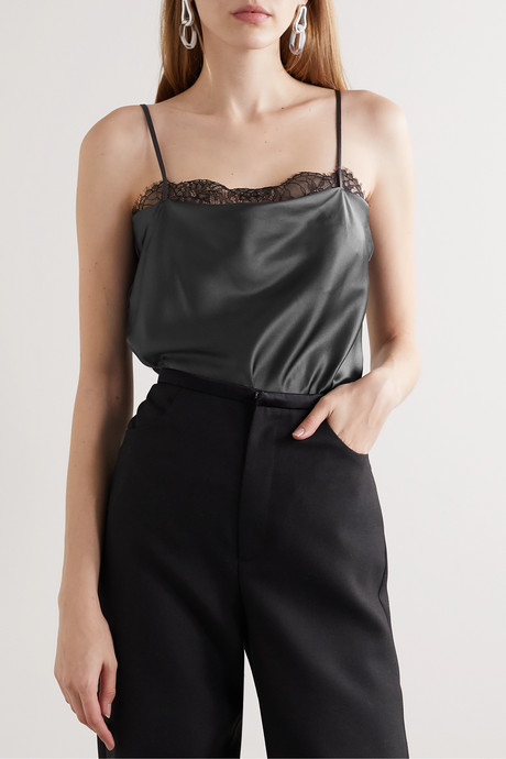 Romy lace-trimmed silk-blend charmeuse bodysuit