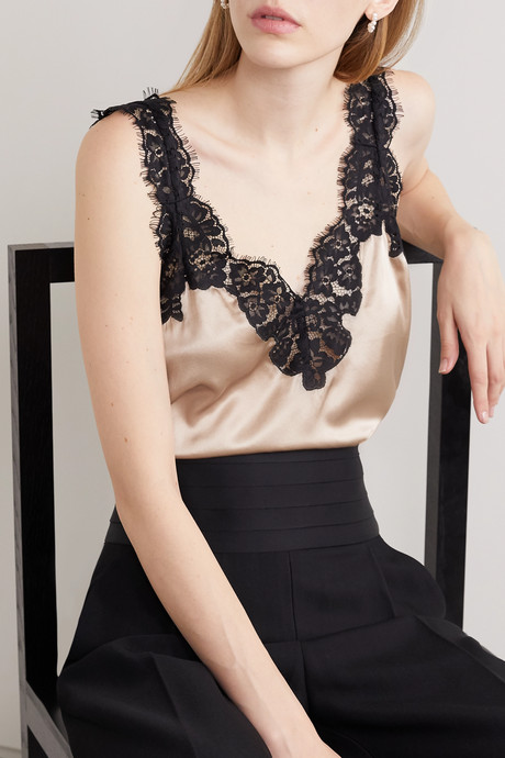 The Leia lace-trimmed silk-charmeuse camisole