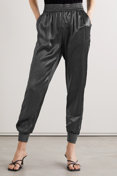 The Sadie silk-charmeuse track pants