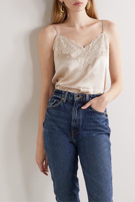 The Katya lace-trimmed silk-charmeuse camisole