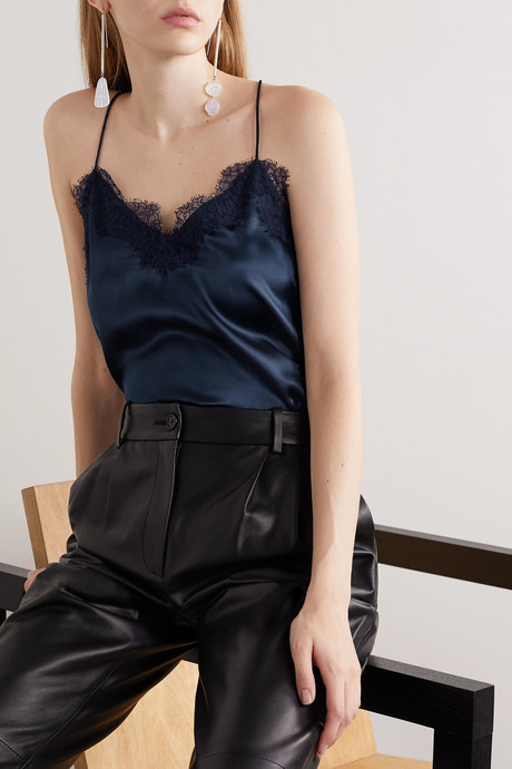 The Racer lace-trimmed silk-charmeuse camisole