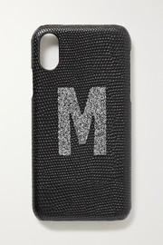 Alphabet Swarovski crystal-embellished lizard-effect leather iPhone X and XS case