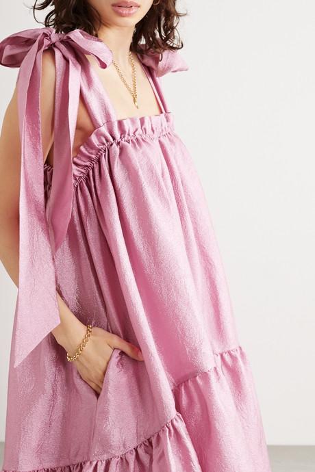 Serena tiered hammered-satin dress