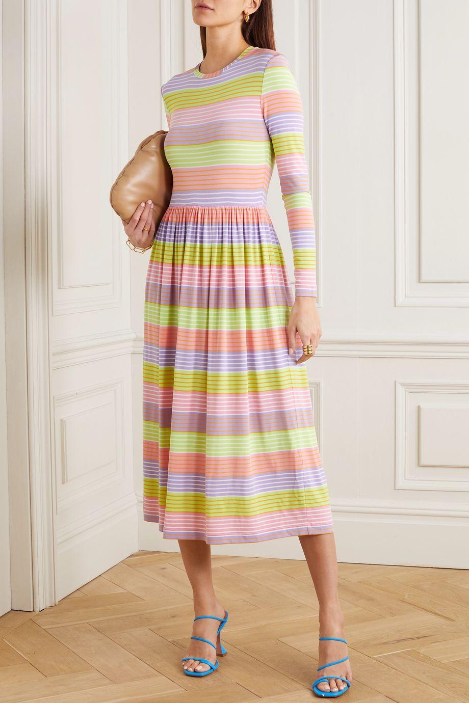 Stine Goya Joel striped stretch-jersey midi dress
