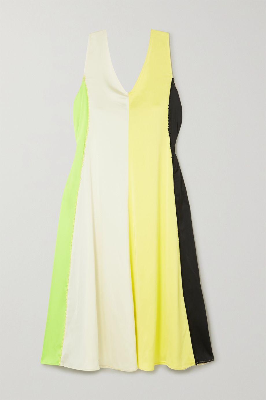 Stine Goya Yara picot-trimmed paneled satin midi dress