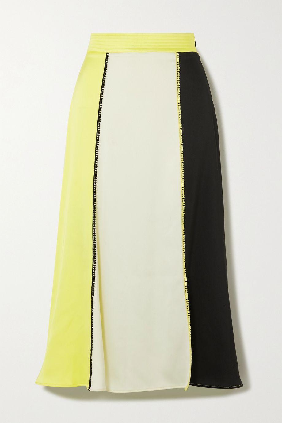 Stine Goya Jada picot-trimmed paneled satin midi skirt