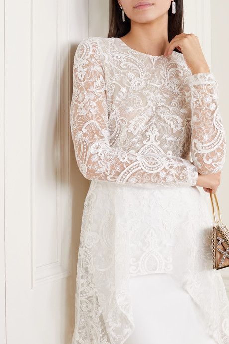 Sansa open-back lace and crepe mini dress