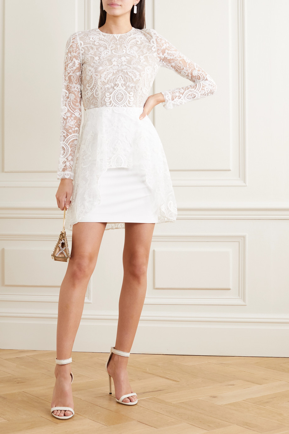 Rime Arodaky Sansa open-back lace and crepe mini dress