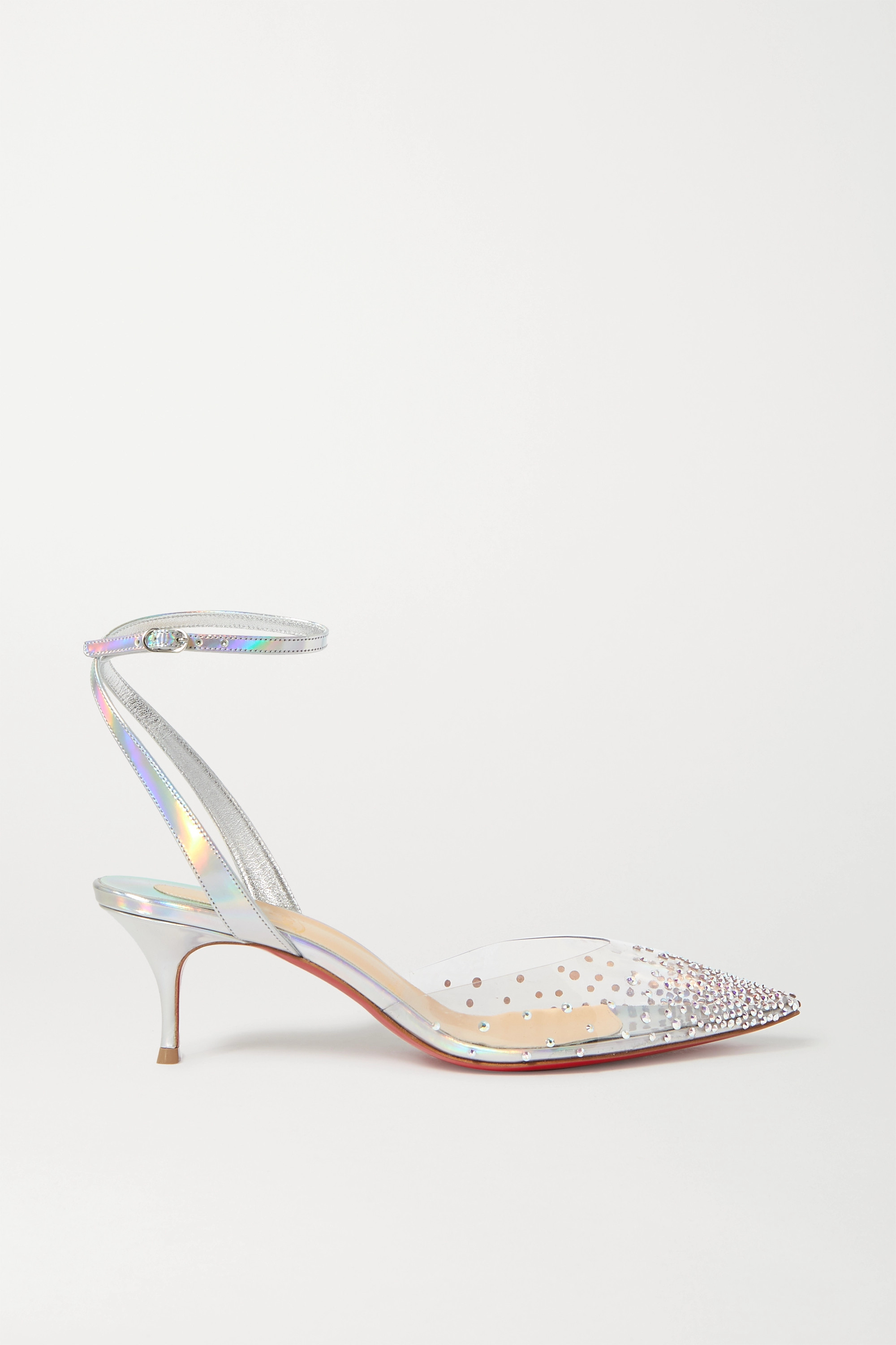 Christian Louboutin Spikaqueen 55 crystal-embellished PVC and iridescent leather pumps