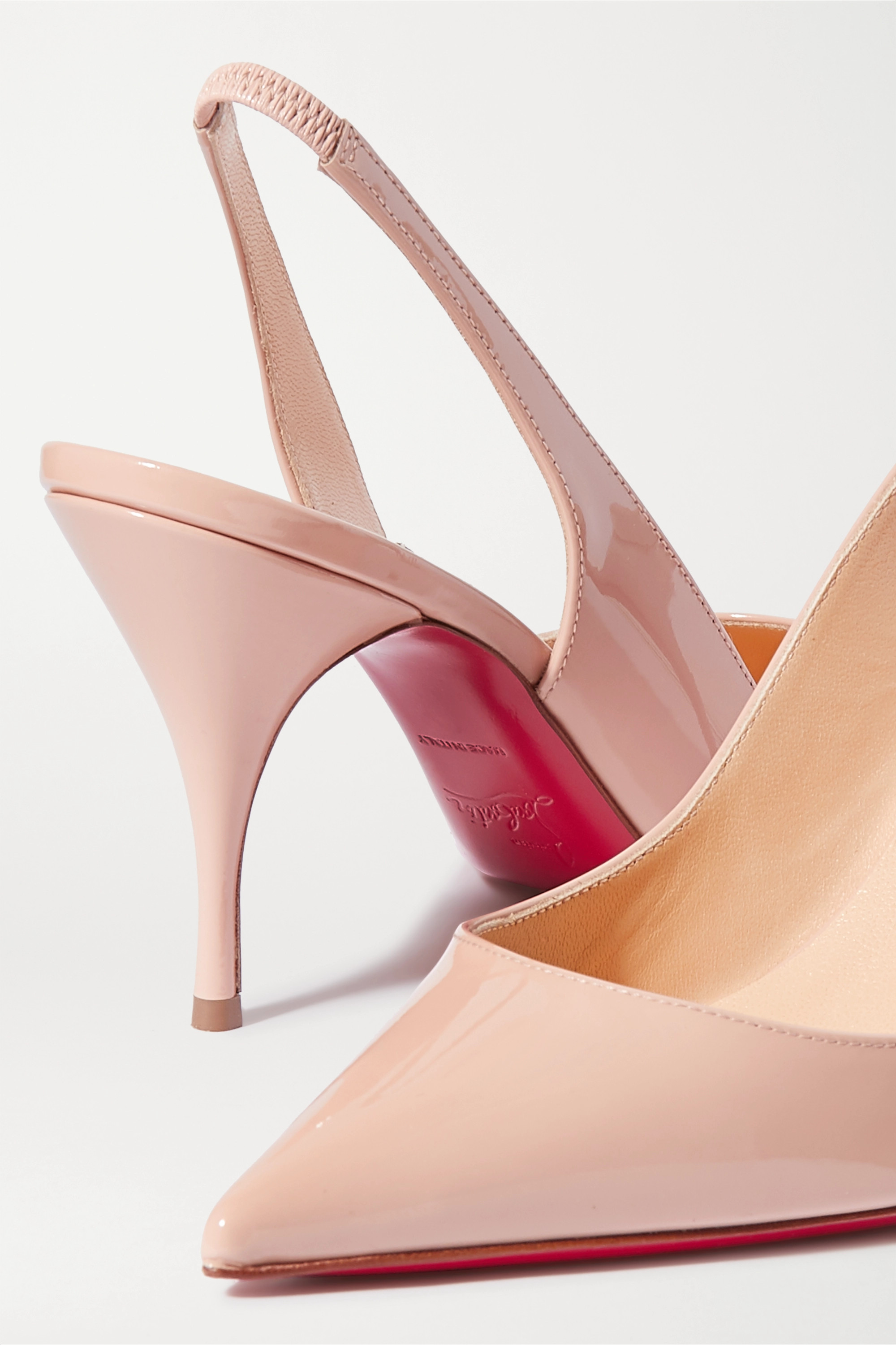 Christian Louboutin Clare 80 patent-leather slingback pumps